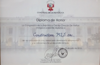 DIPLOMA DE HONOR DEL CONGRESO DE LA REPUBLICA